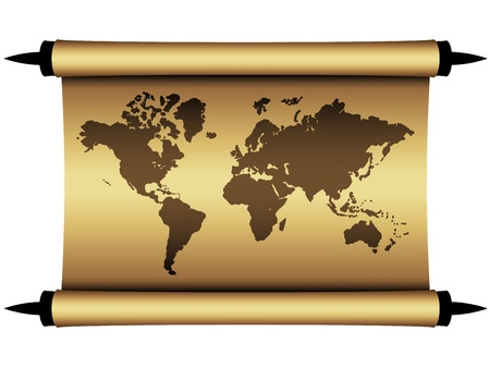 Vector parchment world map Stock Vector - 11564649