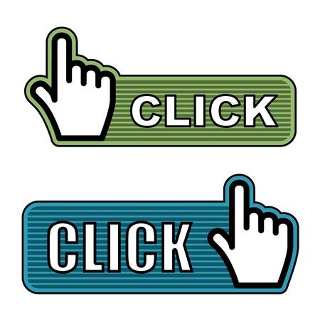 vector striped hand cursor labels Illustration