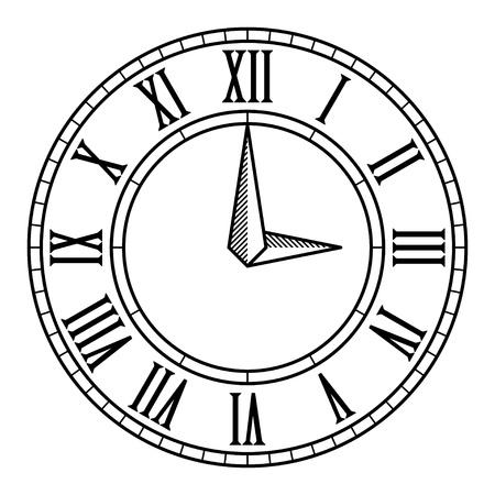 clock face: vector vintage antique clock face Illustration