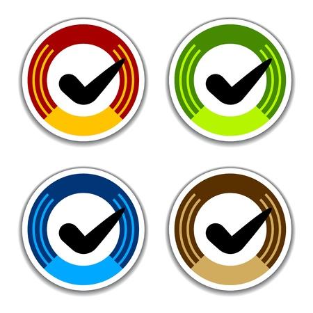 vector colored checkmark stickers Vector