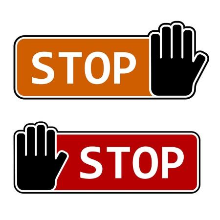 halt: vector stop hand gesture labels