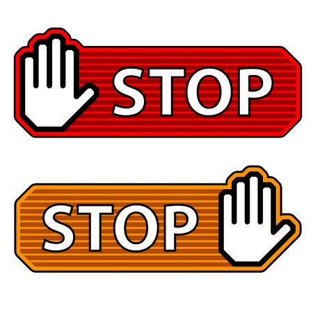 www arm: vector striped stop hand gesture labels Illustration