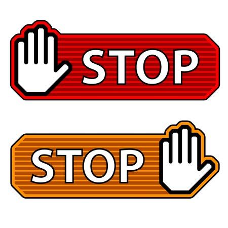 halt: vector striped stop hand gesture labels Illustration