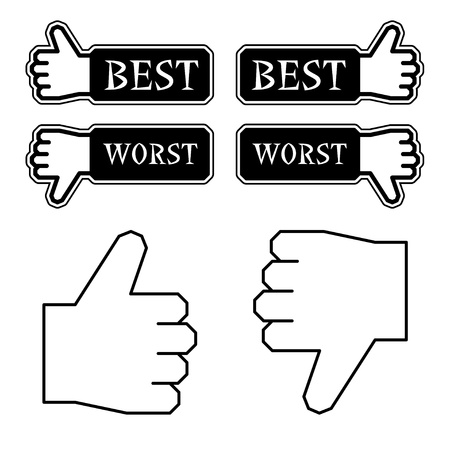 worst: vector thumb best worst labels Illustration