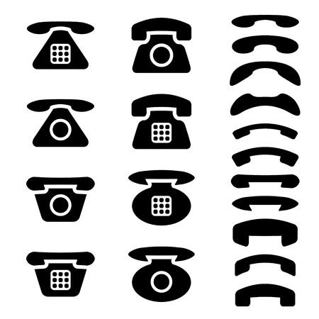 telefono antico: vettore nero vecchio telefono e simboli del ricevitore Vettoriali