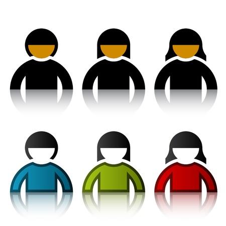 vector male female user symbols Stock Vector - 11564471