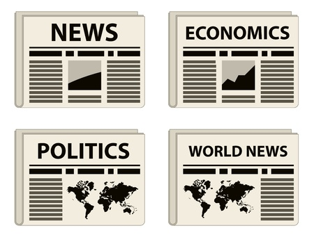 newspaper headline: vector newspaper icons Illustration