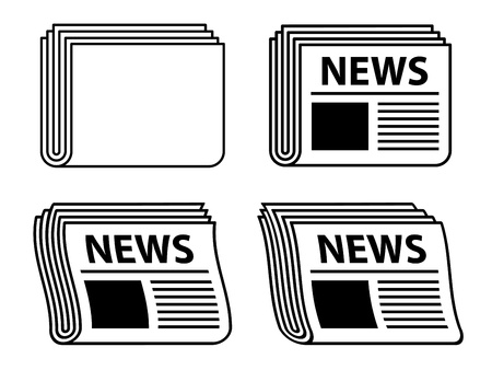 news icon: vector wavy newspaper black symbols Illustration