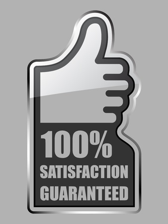 ok hand: vector glass thumb up satisfaction guaranteed label Illustration