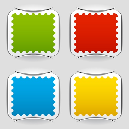 post card: vector blank attached postage papers