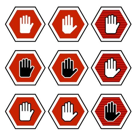 vector hand octagon stop symbols Vector