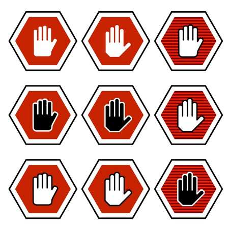 stop hand silhouette: vector hand octagon stop symbols Illustration