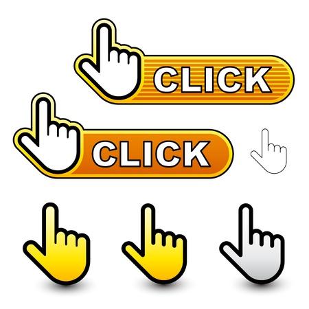 klick: Vektor-Klick Hand-Cursor-Etiketten