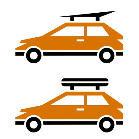 rack wheel: vector car with luggage roof rack icon Illustration