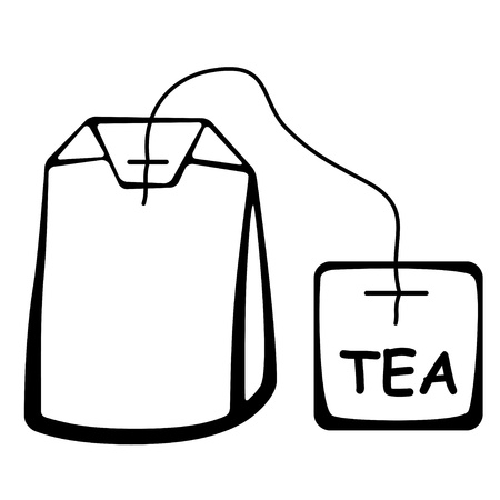 tea hot drink: vector tea bag black pictogram
