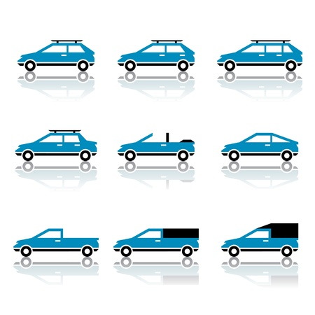 rack wheel: vector different car body style icons Illustration