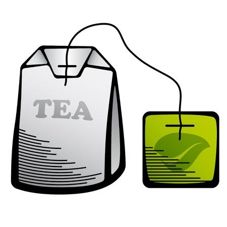 english breakfast tea: vector green tea bag icon Illustration
