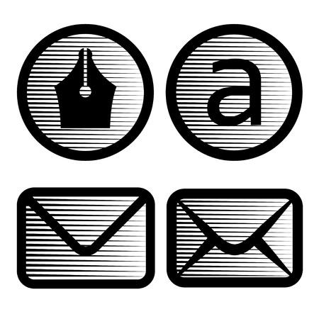 nib: vector striped email symbols