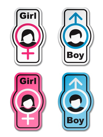 vector boy girl toilet stickers Stock Vector - 11564594