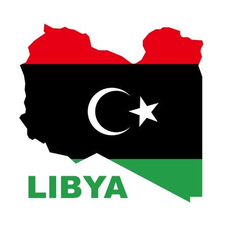libya: vector Libyan Republic flag on map