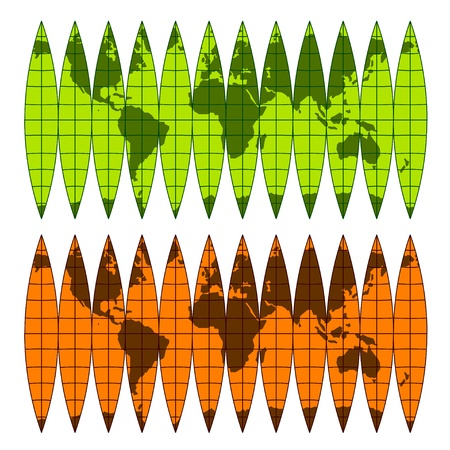 asia pacific: vector assembly globe of the meridian belts Illustration