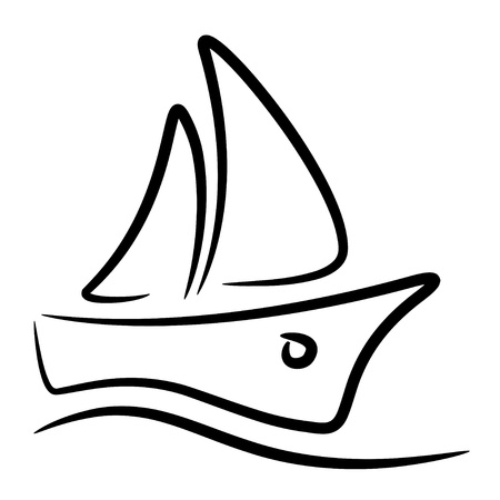vector zeilboot gestileerde symbool
