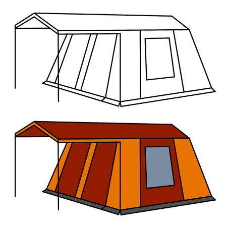 family outside house: vector big old family camping tent