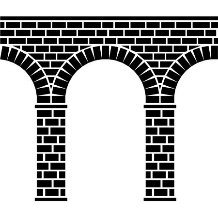 vector ancient seamless stone bridge viaduct aqueduct Vector