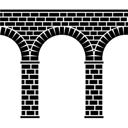 arcos de piedra: vector antiguo puente de piedra transparente viaducto de acueducto Vectores
