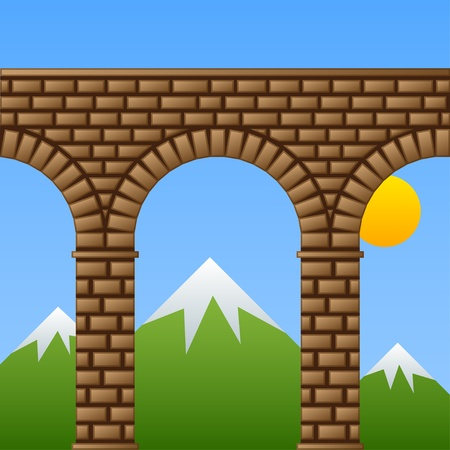 vector ancient stone bridge viaduct aqueduct Vector