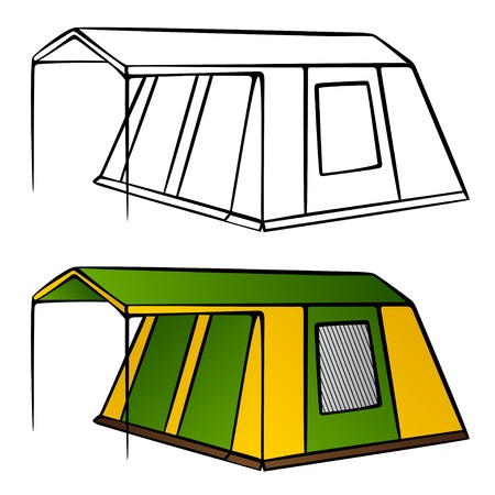 tent vector: vector old family camping tent