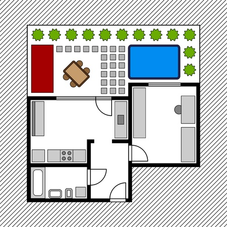 floor plan: vector house floor plan with garden Illustration