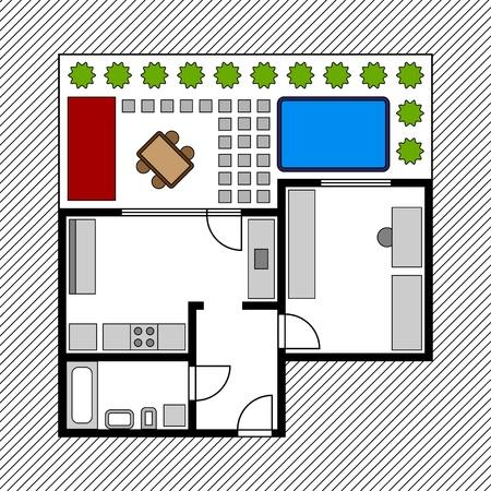 piano di progetto: vettore di casa piano terra con giardino
