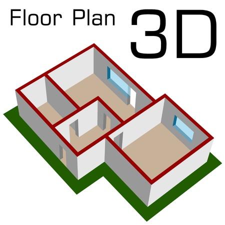 plan maison: vecteur 3D plan vide plancher de la maison