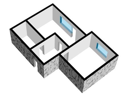 건축가: 돌 질감 벡터 3D 집 평면도 일러스트