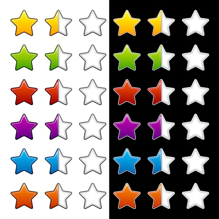 review icon: vector whole half and blank rating stars Illustration