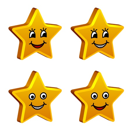 cartoon stars: vector 3d golden smiling stars