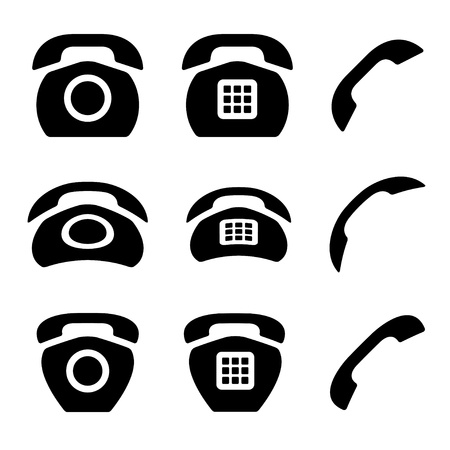 vector black old phone and receiver icons Vector