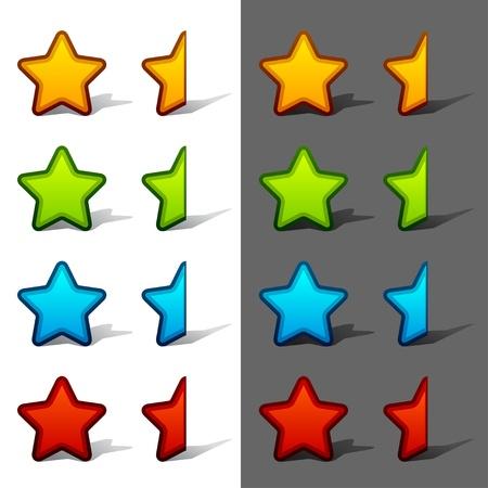 the rate: vector whole and half rating stars with shadow