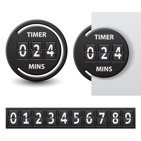 outdated: vector countdown round mechanical timer Illustration