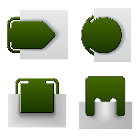attached: vector green attached labels Illustration