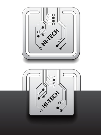 vector hi-tech square circuit board attached labels Stock Vector - 11564596