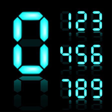 display type: vector blue glowing digital numbers Illustration