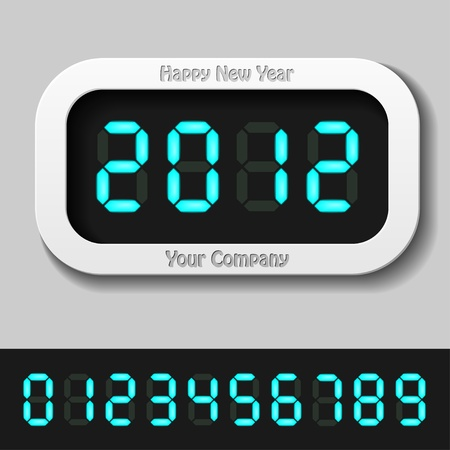 display type: vector blue glowing digital numbers - new year 2012 Illustration
