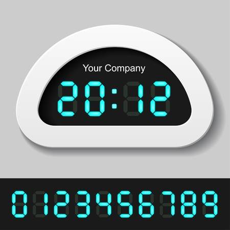 led display: vector blue glowing digital numbers - clock or counter Illustration
