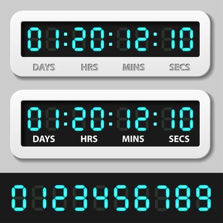 vector blauwe gloeiende digitale nummers - countdown timer