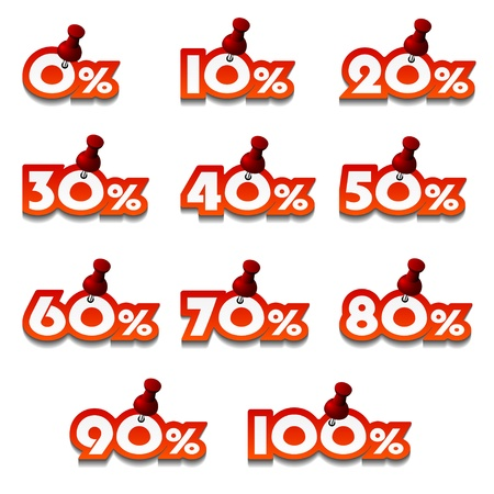 sticker design: vector attached promotional percentage numbers Illustration