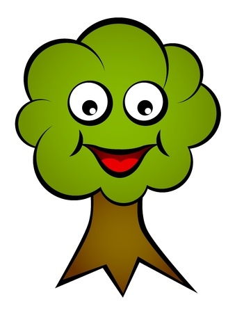 object with face: vector cartoon smiling face tree