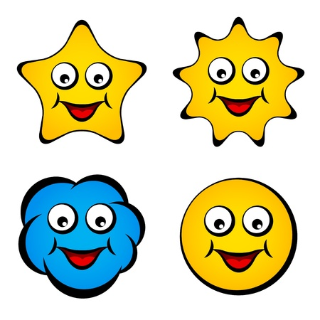 vector cartoon smiling face star sun cloud smiley Vector