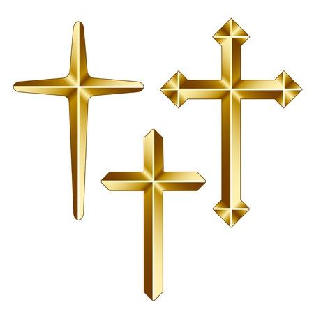 j�sus croix: vecteur or chr�tien traverse Illustration